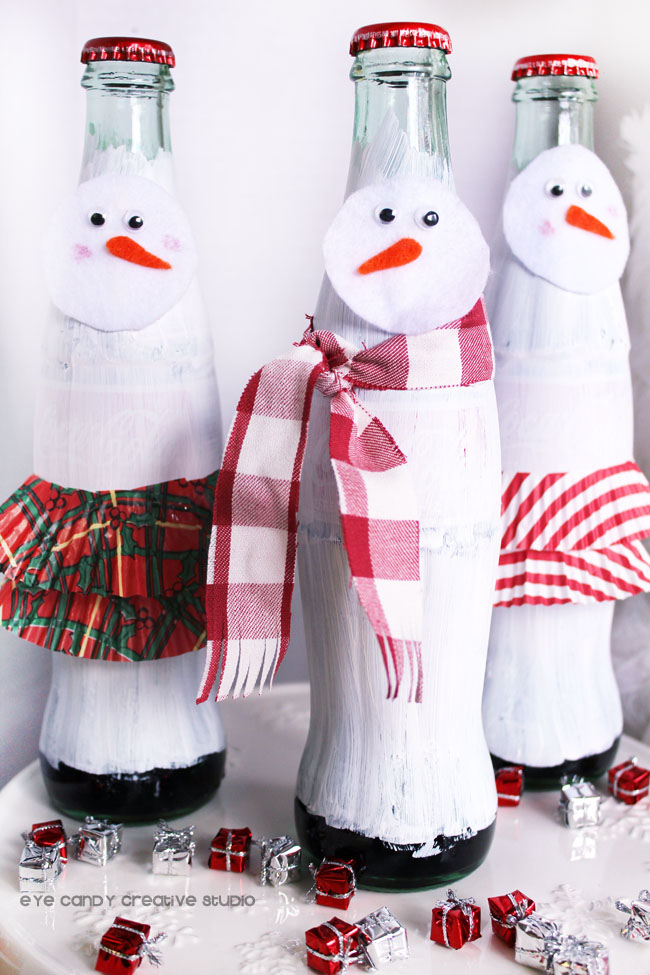 snowman coca cola bottle craft idea, diy craft, snowman scarf, snow woman
