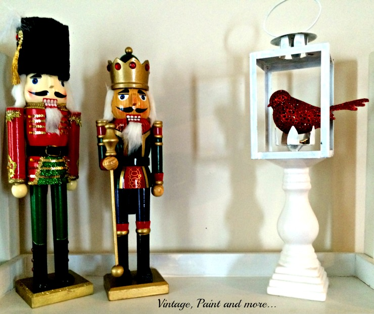 Vintage, Paint and more...vintage nutcracker decor with a painted lantern on a candlestick