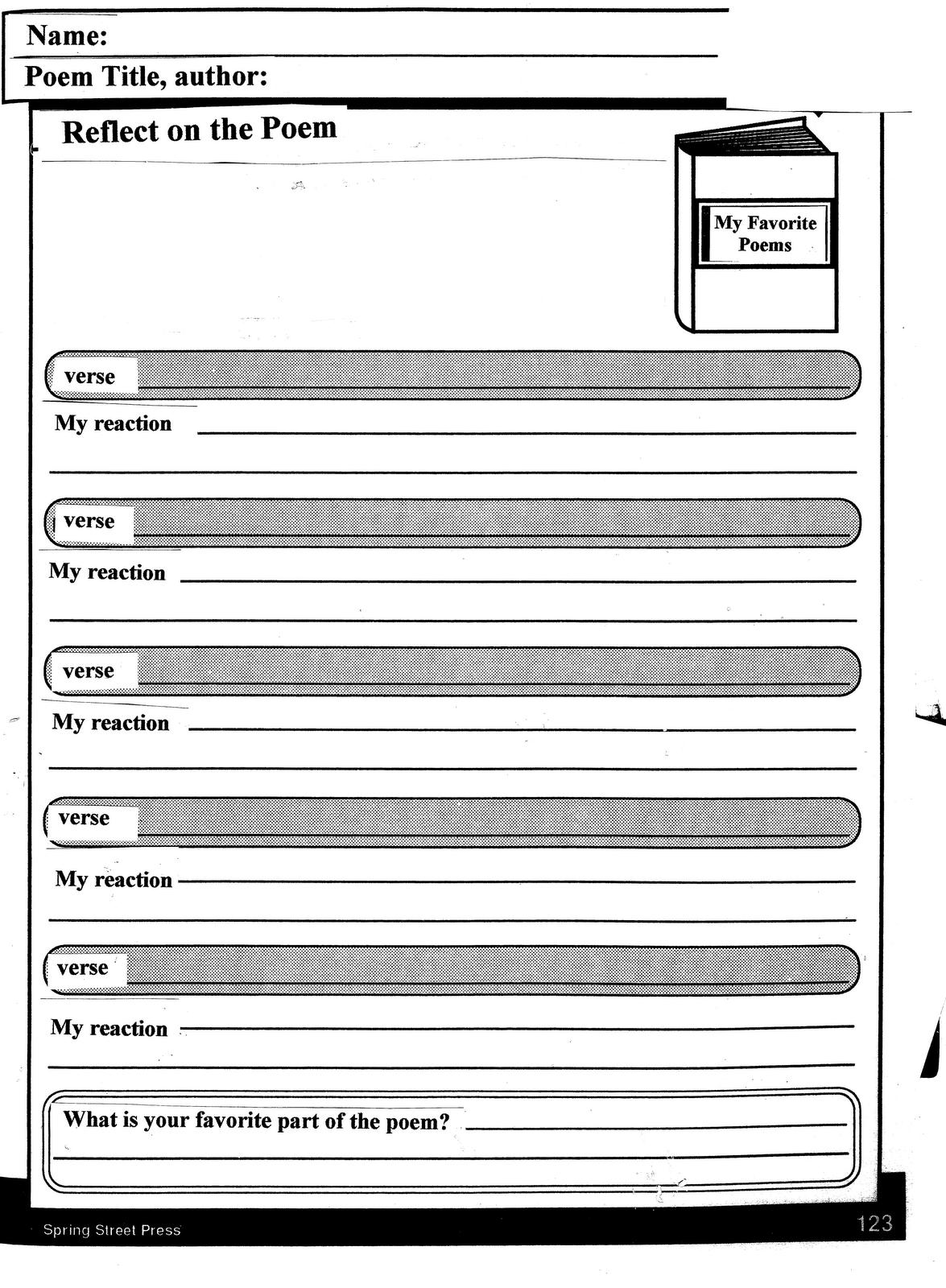 Printables Poetry Analysis Worksheet poem analysis worksheet davezan poetry worksheets davezan