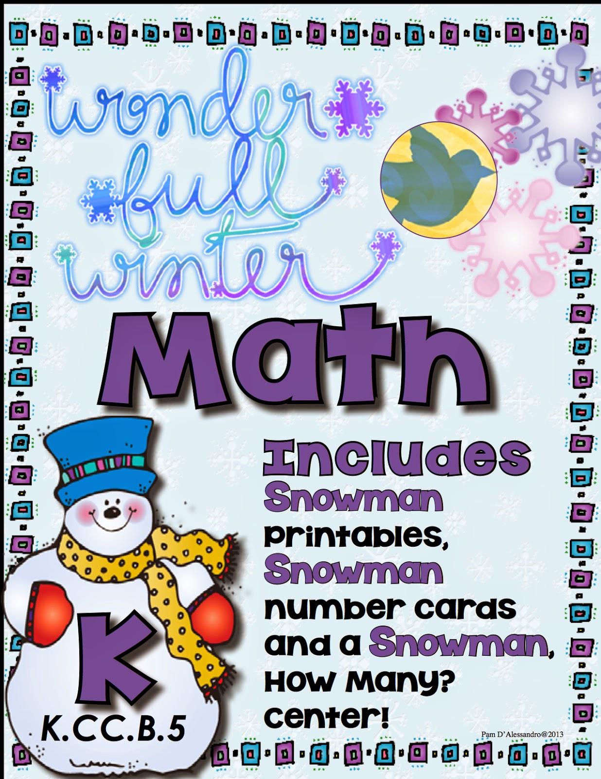 Teacher Tam S Educational Adventures 11 Free Winter Math Centers For Kindergarten