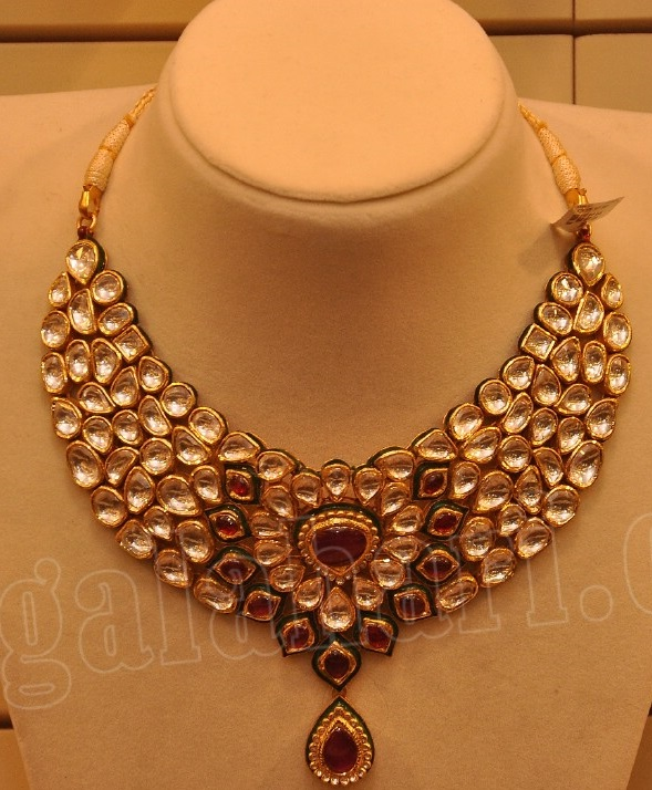 New Necklace Earring Set Gold Polki Jewellery Indian: Bridal Polki Necklace By Malabar Gold