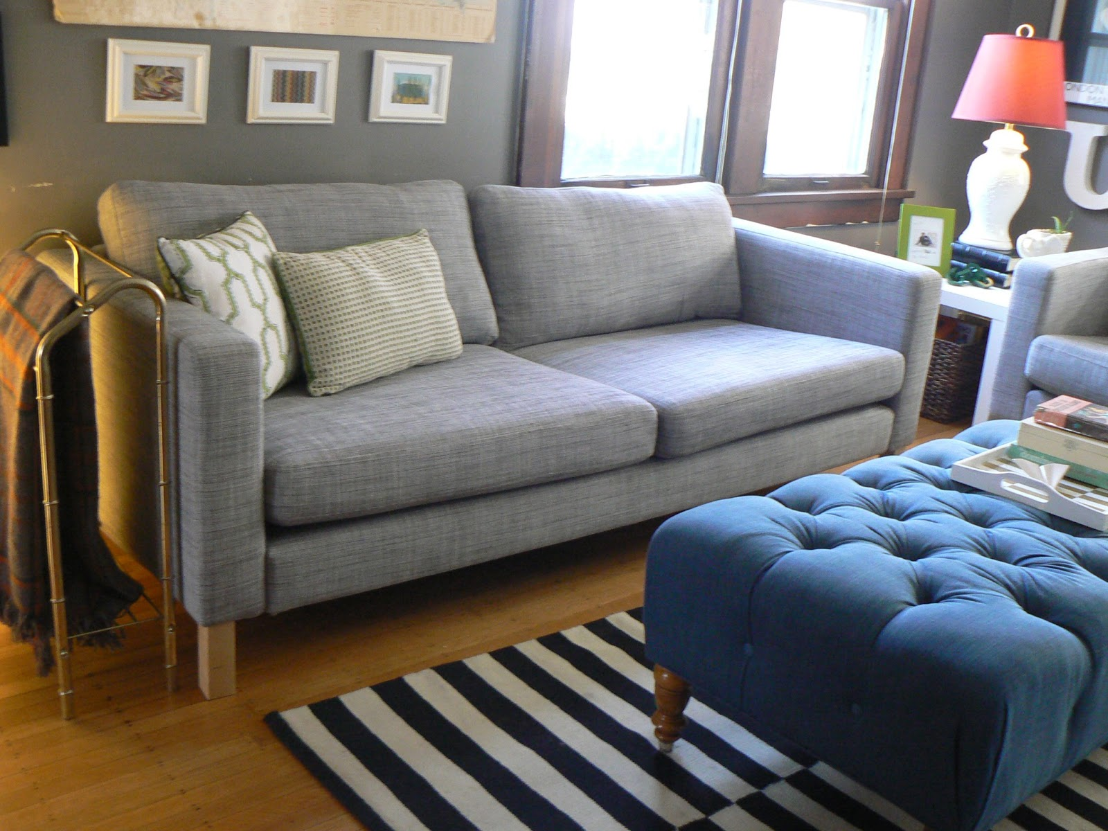 Karlstad Chair Cover Isunda Gray Leather Task Ikea Little House Design