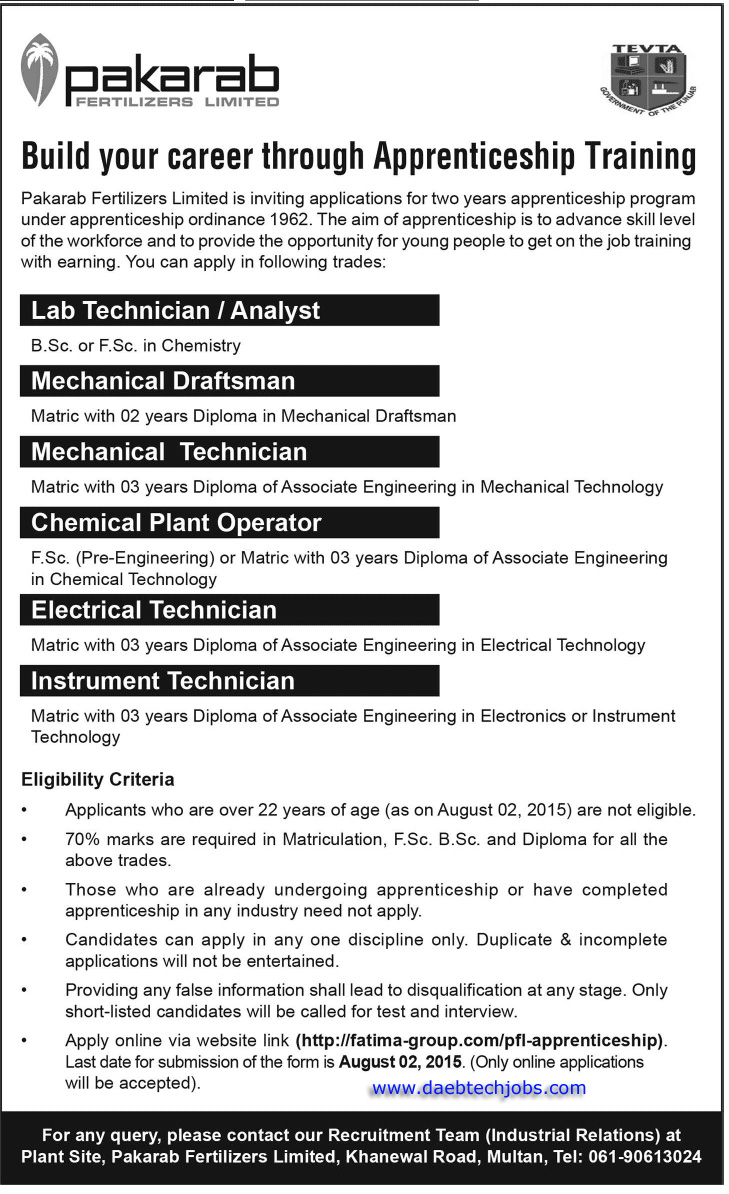Apprenticeship Job D A E B Tech Mechanical Civil Electrical Electronics Chemical Jobs
