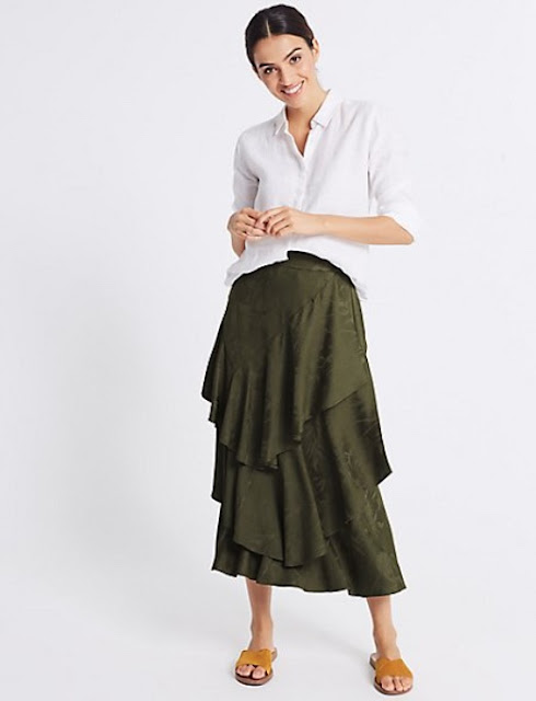 marks and spencer printed ruffle front pencil midi skirt
