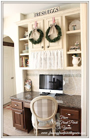 French Farmhouse- French Country- Christmas-Kitchen Built In Desk