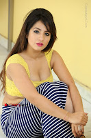 Cute Telugu Actress Shunaya Solanki High Definition Spicy Pos in Yellow Top and Skirt  0417.JPG