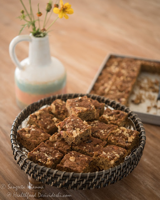 wholewheat date walnut tray bake (no sugar added), a rich mildly spiced cake sweetened with dates