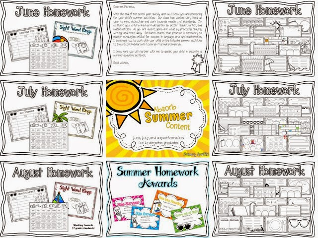 http://www.teacherspayteachers.com/Product/Absorb-Summer-Content-Homework-for-Kindergarten-Graduates-687451