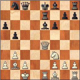 Partida de ajedrez Cifuentes-Puget del IV Campeonato de España de Ajedrez Femenino Valencia 1955, posición después de 18…Te7