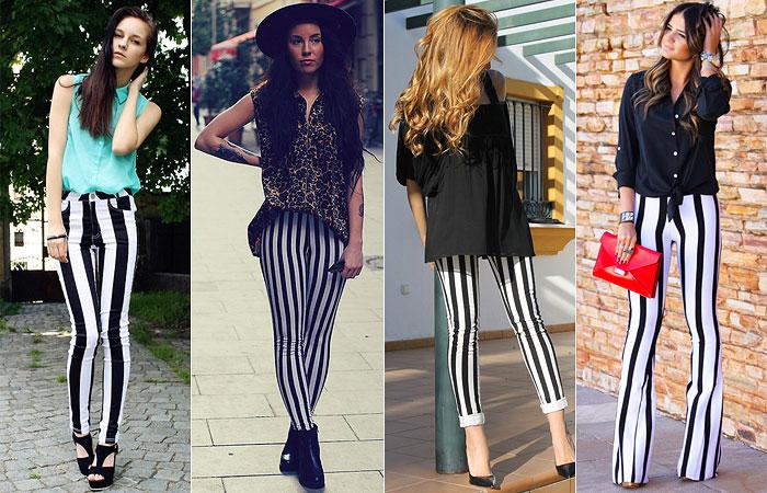 a moda da calça listrada; calça listrada