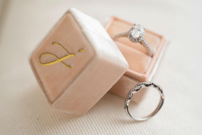 pink the mrs box, wedding ring box, velvet ring box, shane company engagement ring