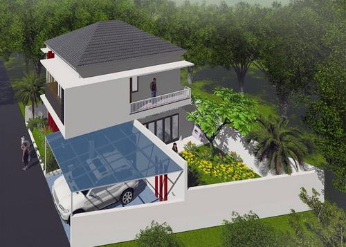 Desain Rumah Minimalis 2 lantai Posisi Tanah Miring