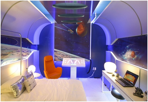 Starship bedroom for teenagers from Extreme Makeover Home Edition. Spacecraft dormitory for boys