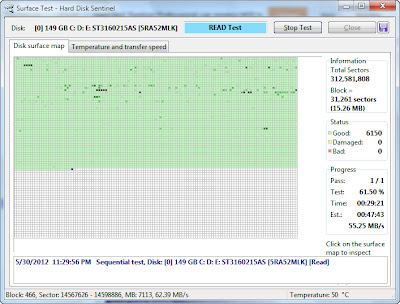 Surface Test (Read Test) in Hard Disk Sentinel Professional
