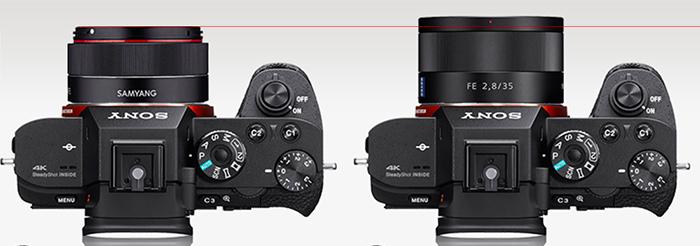 Сравнение габаритов Samyang 35mm f/2.8 FE и Zeiss 35mm f/2.8 FE
