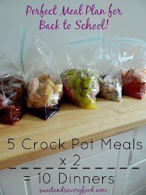 5 crock pot meals x 2 = 10 Dinners (sweetandsavoryfood.com)