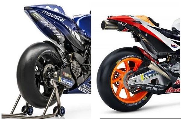 Perbedaan Knalpot MotoGP Yamaha dan Honda  sumber foto : Gridoto.com