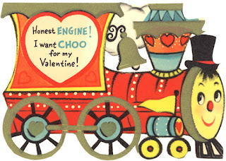 Clipart image of a vintage Valentine with a train