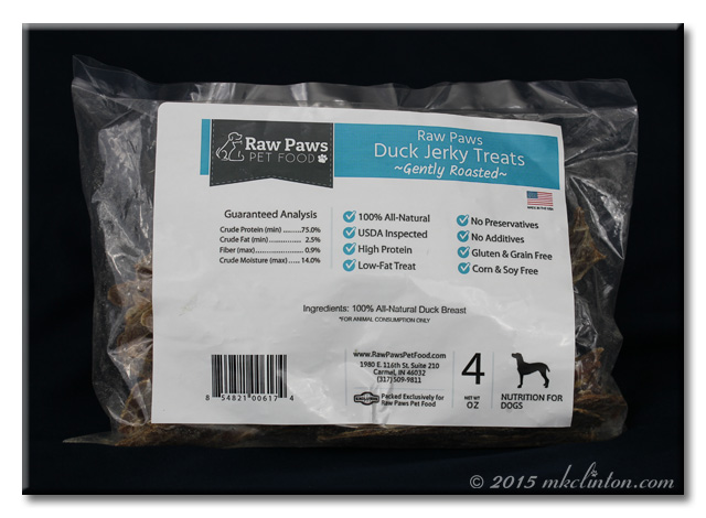 Package of Raw Paws Duck Jerky