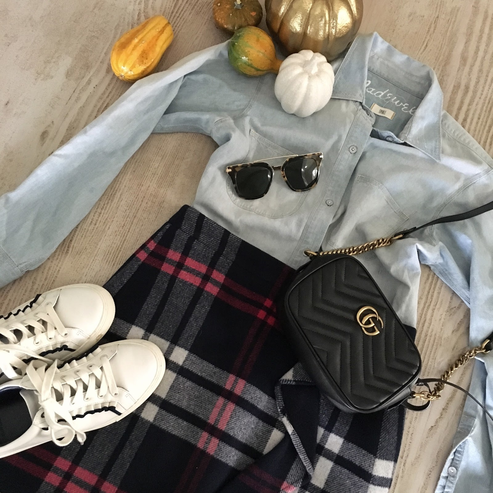 plaid ruffle skirt outfit