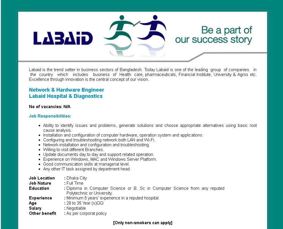 Labaid Hospital & Diagnostics | Network & Hardware Engineer - Desi ...