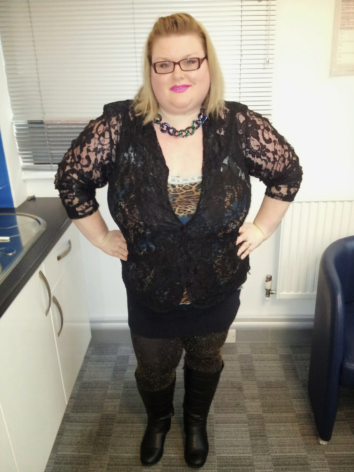 03a33d51baf2 Lace Cardi from Zizzi, cami very old can't remember from where, skirt from  New Look, leggings from Primark, boots from Evans and necklace from Primark.