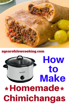 Holy cow I didn't realize I could actually make chimichangas at home by myself! There are two parts to this recipe: first, you cook the meat all day in the crockpot slow cooker and then you pan fry the burritos in a bit of oil to turn them into chimichangas!!