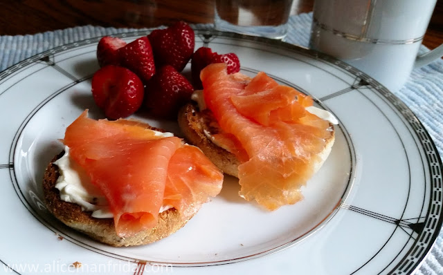 A Fishy Day, Tasty Tuesday, smoked salmon, breakfast, healthy eating, strawberries, balanced diet, food diary, brunch, delicious, fish, cream cheese, english muffin, coffee, morning,