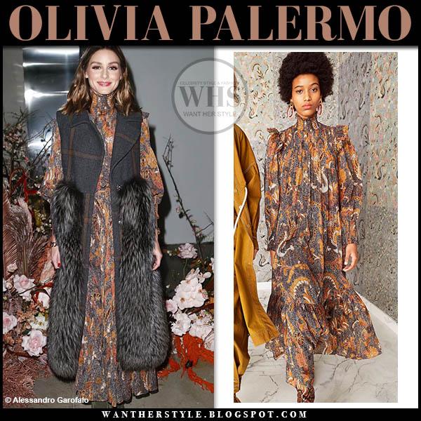 Olivia Palermo wearing orange paisley print high neck dress and grey sleeveless fur check coat fashion week outfits february 7