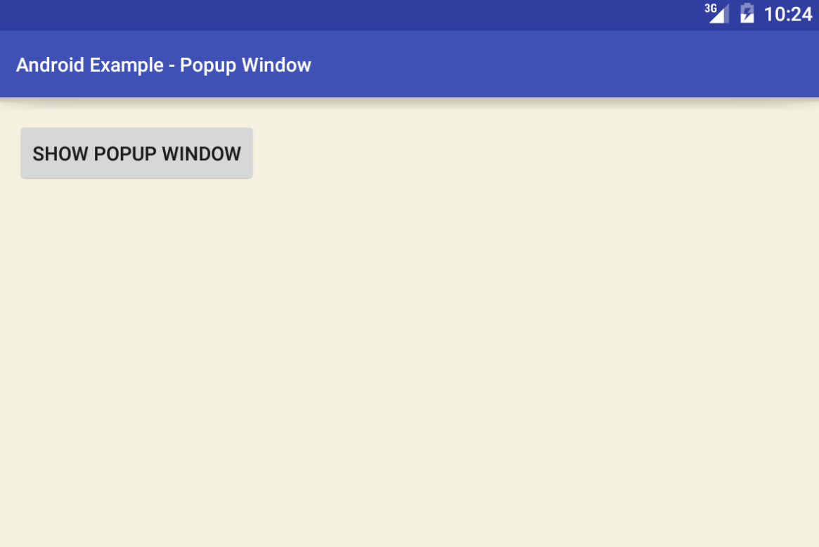 Android Popup Window Example