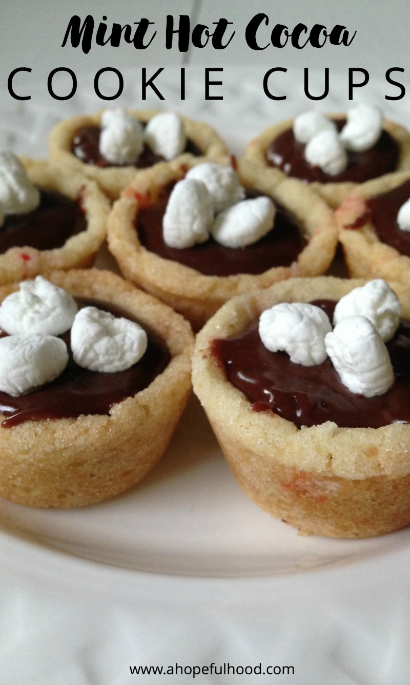 "Easy peppermint cookie ""cups,"" filled with hot chocolate-y goodness // via @ahopefulhood"