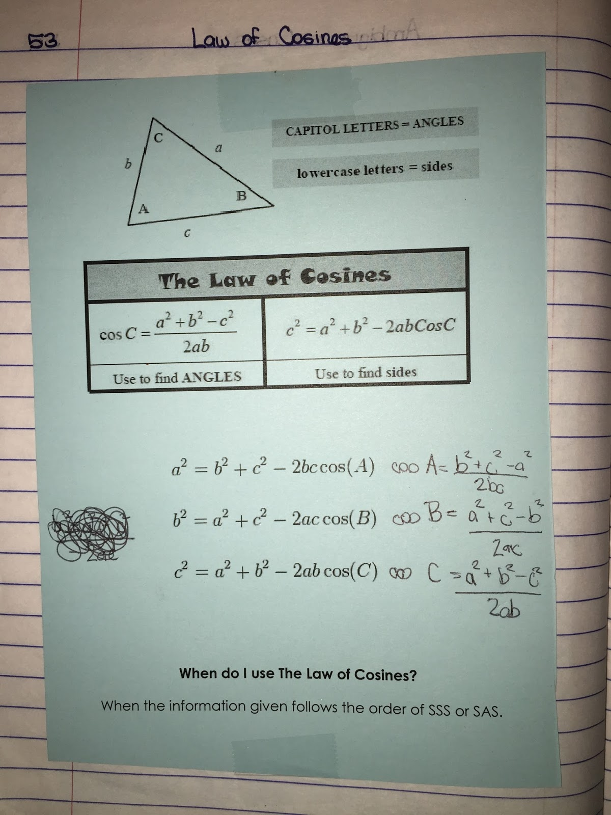 Misscalcul8 Trig Unit 5 Law Of Sines And Cosines Interactive Notebook