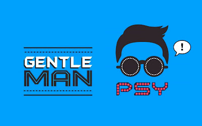 psy gentleman art wallpaper blue