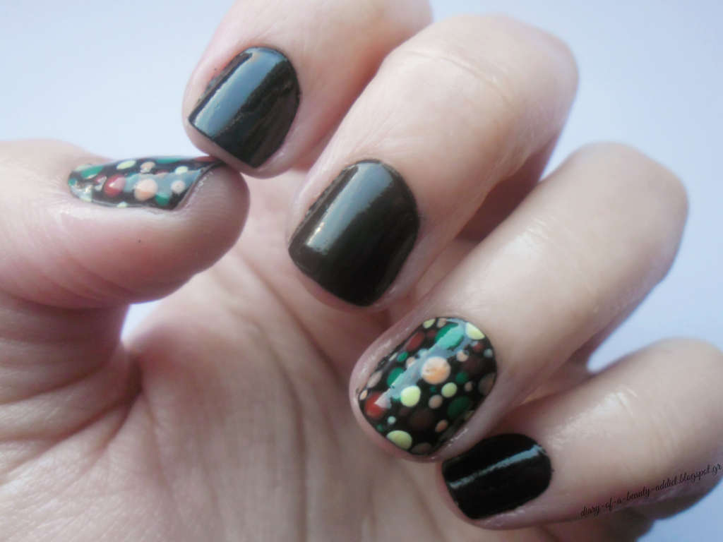Black with Green & Orange Dots