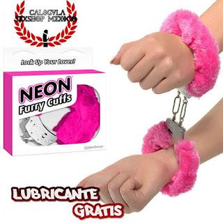 Esposas Metalicas Sado Bondage para juegos Sexuales, Pipedream Neon Luv Touch Neon Furry Cuf