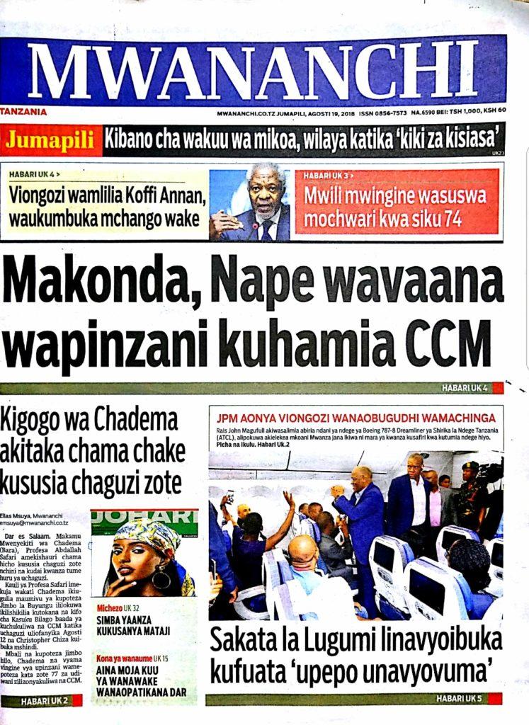 Magazeti ya leo Jumapili August 19 2018