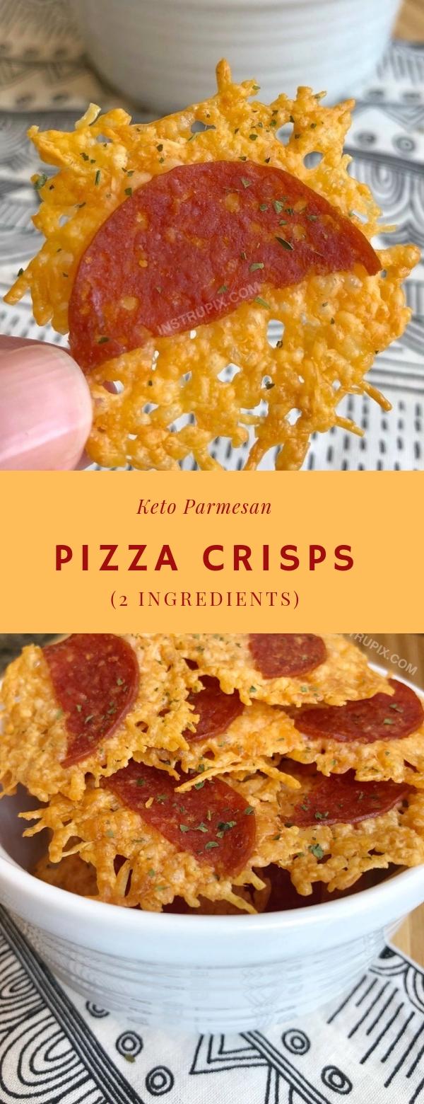 Keto Parmesan Pizza Crisps (2 Ingredients) #KETO #PARMESAN #PIZZA