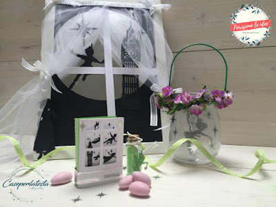 scatolina bomboniera peter pan e lanterna trilly