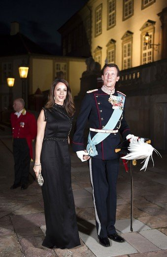 Princess Mary wore David Andersen gown, Carlend Copenhagen clutch. Princess Marie Bally shoes, Wedding