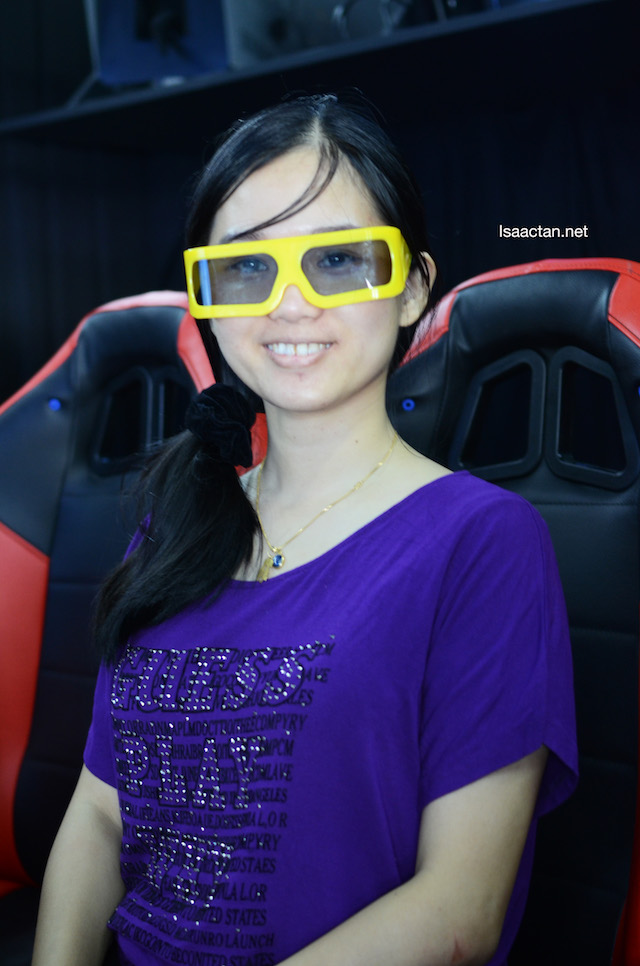 Janice enjoying the 5D Theatre