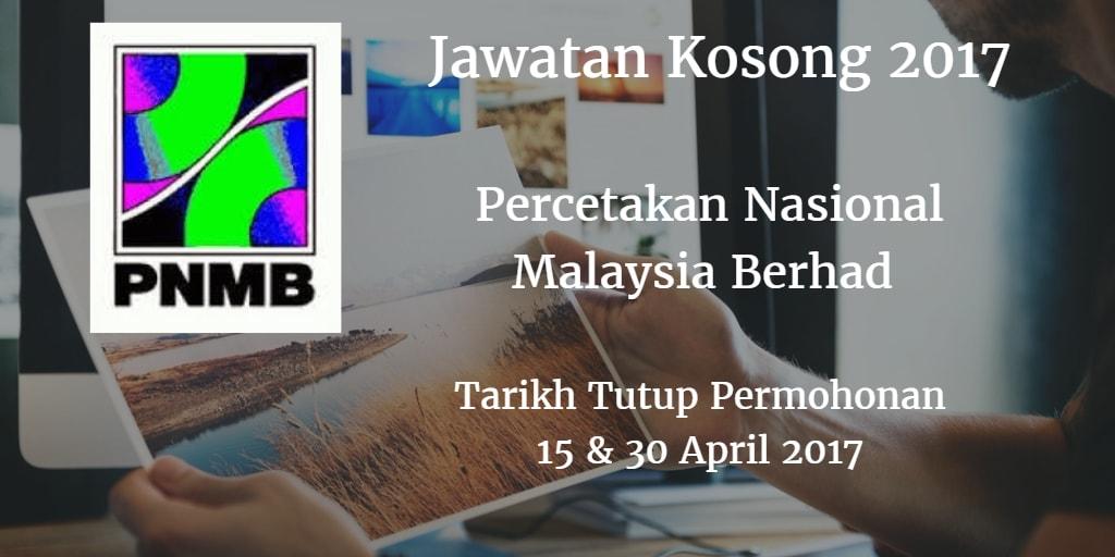 Jawatan Kosong PNMB 15 & 30 April 2017