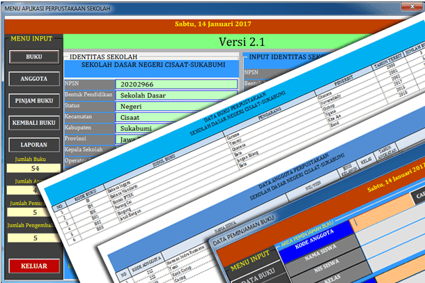 Contoh Aplikasi Perpustakaan Sekolah untuk SD Format Microsoft Excel