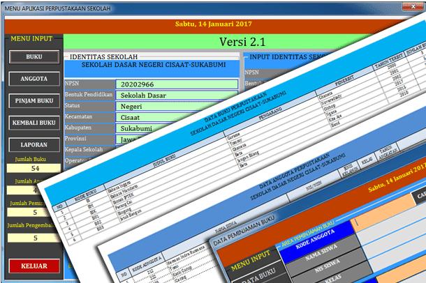 Contoh Aplikasi Perpustakaan Sekolah Untuk Sd Format Microsoft Excel Berkas Edukasi