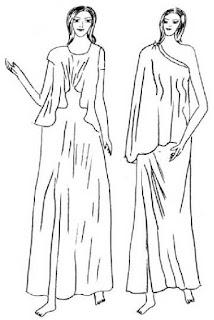 Peplos dan haenos yaitu busana wanita Yunani Kuno yang bentuk dasarnya sama dengan chiton, ada yang dibuat panjang dan ada yang pendek. Pada bagian bahu ada lipit-lipit yang ditahan dengan peniti dan ada kalanya pada pinggang juga dibuat lipit-lipit sehingga terlihat seperti blus
