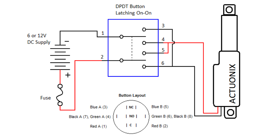 reversing motor wiring diagram for dpdt switch connecting a linear actuator to a rocker switch | actuonix