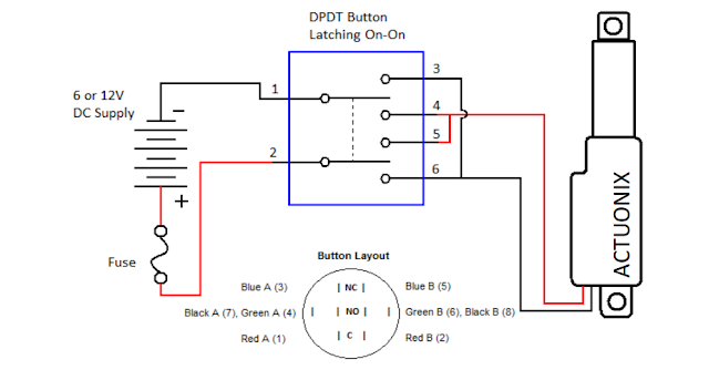 How to wire an actuator to a DPDT switch