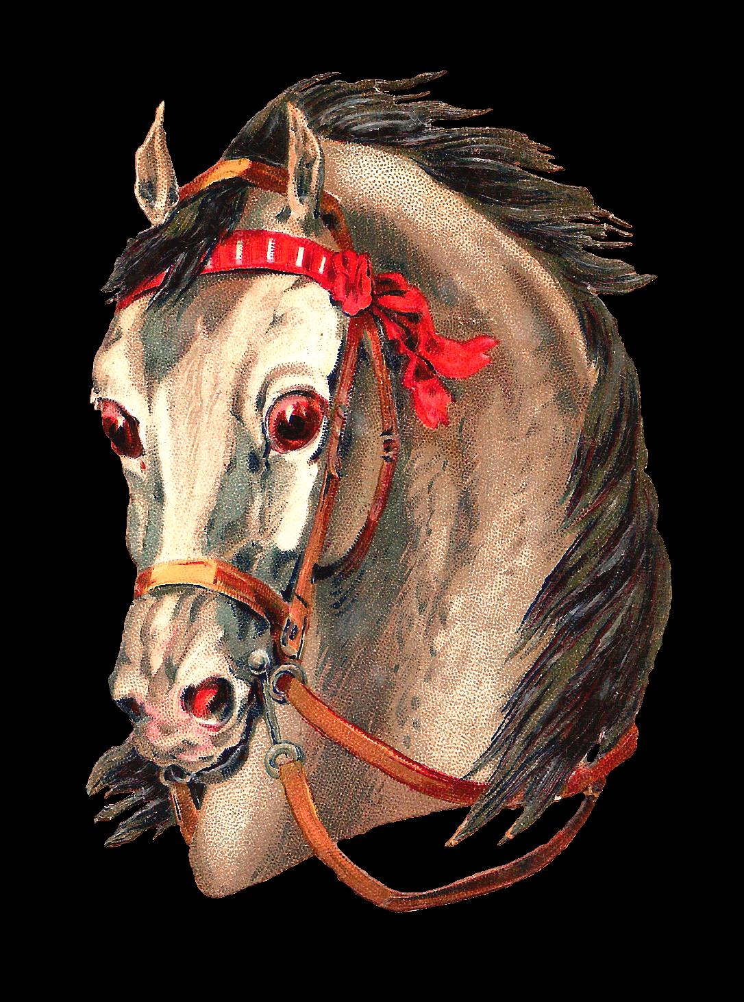 Antique Images: Free Horse Clip Art: 2 Horse Portraits ...