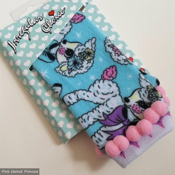 Irregular Choice pom pom lamb socks in packet