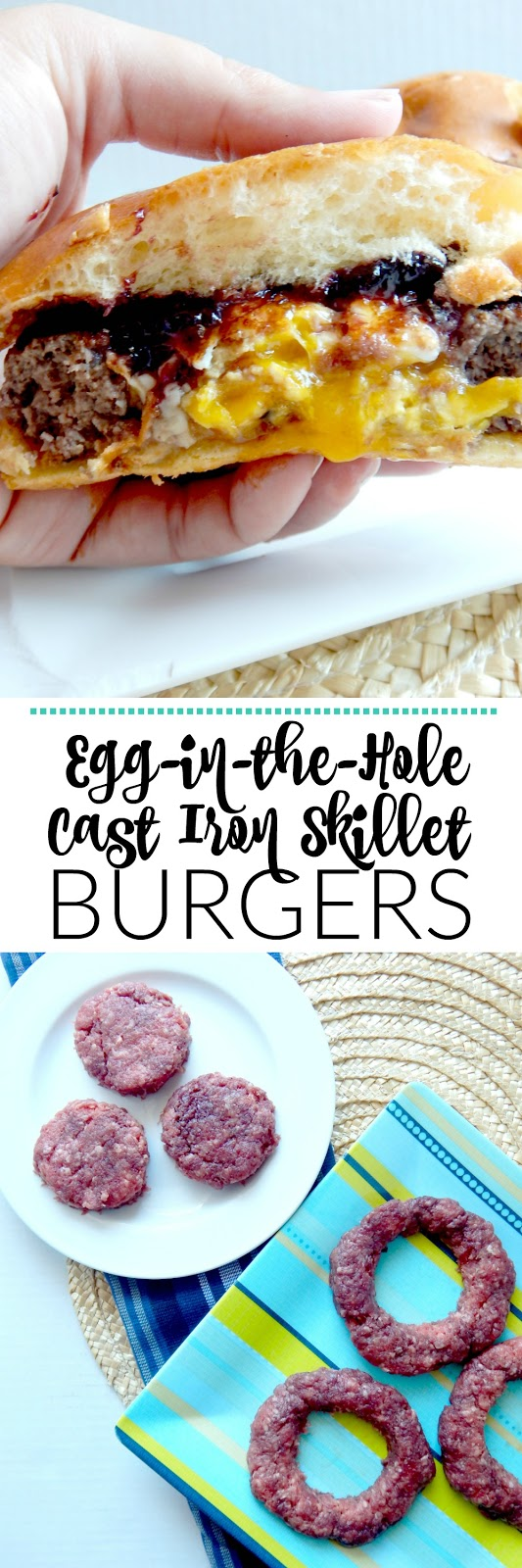 Egg-in-the-Hole Cast Iron Skillet Burgers...a deliciously seasoned hamburger with a cracked egg fried in the middle.  Perfection in a burger! (sweetandsavoryfood.com)