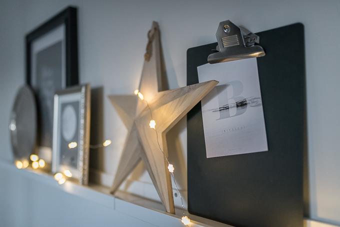 tauluhylly somistus, puinen tähti granit